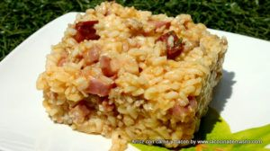 Arroz con carne y bacon