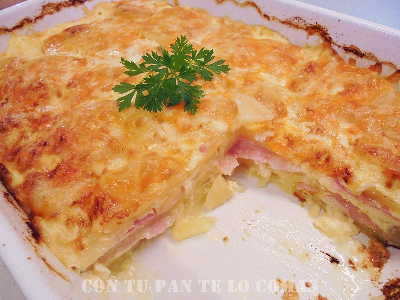 Pastel de patatas bacon y queso